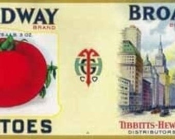 Broadway Tomato Label (Art Prints available in multiple sizes)