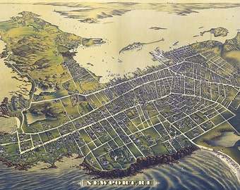 Newport, Rhode Island - Panoramic Map (#2) (Art Prints available in multiple sizes)