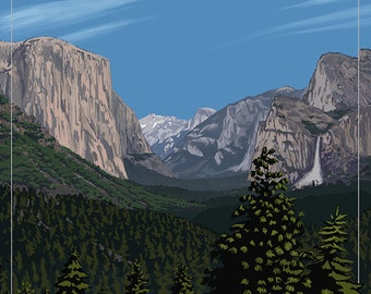 Yosemite Valley Scene, California (Art Prints available in multiple sizes)
