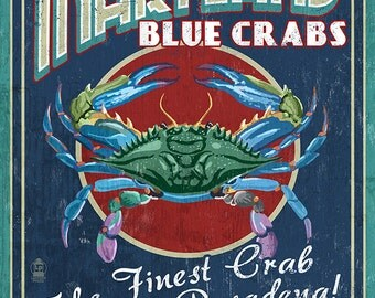 Pasadena, Maryland - Blue Crabs Vintage Sign (Art Prints available in multiple sizes)