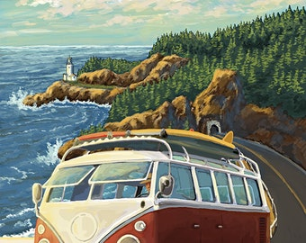 Bodega Bay, California - VW Van Coastal (Art Prints available in multiple sizes)
