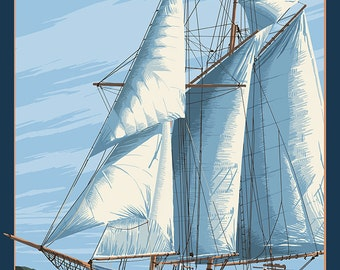 Maryland - Sailboat Scene (Art Prints available in multiple sizes)