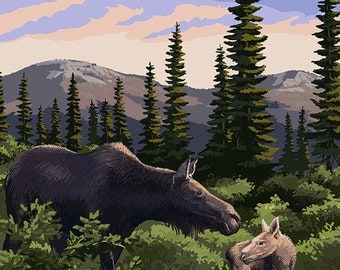Alaska - Moose and Baby (Art Prints available in multiple sizes)