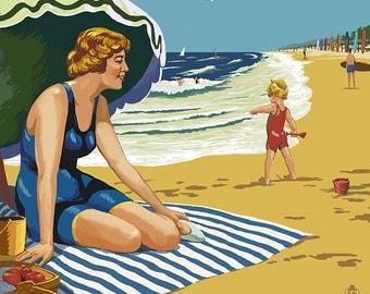 Huntington Beach, California - Woman on Beach (Art Prints available in multiple sizes)