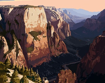 Zion National Park - Zion Canyon Sunset (Art Prints available in multiple sizes)