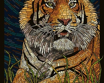 Tiger - Paper Mosaic (Art Prints available in multiple sizes)