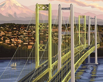 Tacoma, Washington - Narrows Bridge and Rainier (Art Prints available in multiple sizes)