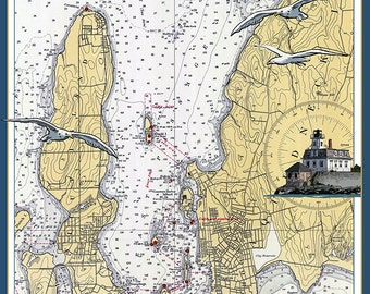 Jamestown, Rhode Island Nautical Chart (Art Prints available in multiple sizes)