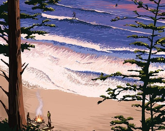 Short Sands Beach, Oregon Coast Scene (Art Prints available in multiple sizes)