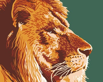 Lion Up Close - Visit the Zoo (Art Prints available in multiple sizes)