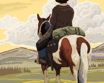 Whitefish, Montana - Cowboy (back) (Art Prints available in multiple sizes)