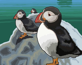 Glacier Bay, AK - Puffins (Art Prints available in multiple sizes)