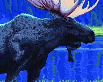 Maine - Moose in the Moonlight (Art Prints available in multiple sizes)