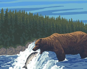 Canada - Bear Fishing (Art Prints available in multiple sizes)