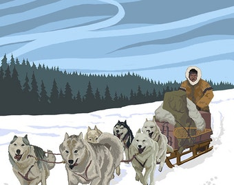 Dog Sledding Scene - Ketchikan, Alaska (Art Prints available in multiple sizes)
