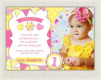 PERSONALIZED Pink and Yellow Birthday Thank You Card / Printable Download / Birthday Thank You Note / Little Sunshine Girls Birthday (111