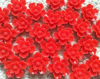 10 pcs 20 mm red Sakura flower,red Cabochon flower,crimson Sakura flower,red Sakura flower,flower kit,flat back flower,red cabochon flower