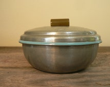 bowl with lid,  round aluminum lidded bowl with bakelite handle, Keepsake box, jewelry storage,