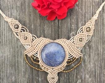 White Magic moonsister Tribal Boho makramee jewelry with Lapislazuli