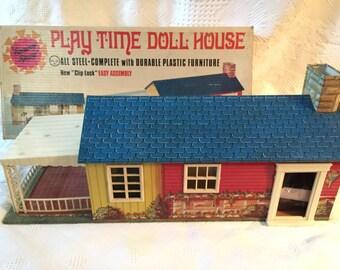 Vintage cottage doll house with furniture & original box