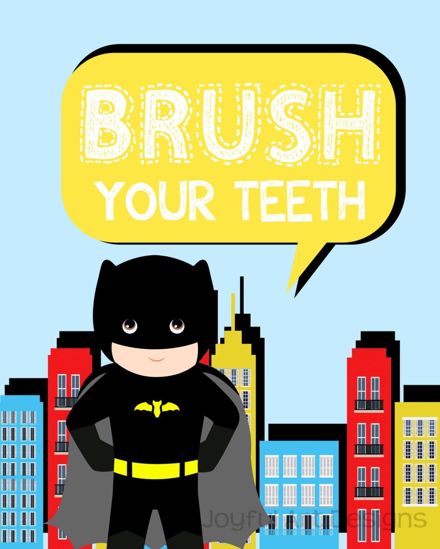 Batman Bathroom Sign: Superhero Bathroom Signs. Spiderman Superman Captain America
