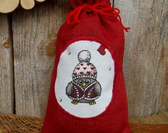 Christmas Fabric Gift Bags Christmas Decor Christmas Ornament Christmas Sack Christmas Gift Bag Owl Gift Bag Christmas Gift Santa Sack