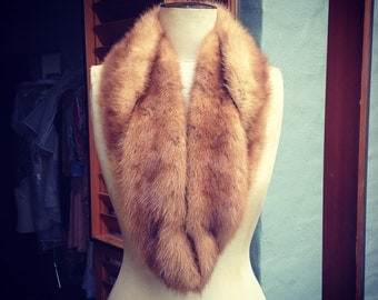 Vintage Mink fur collar scarf stole velvet lined