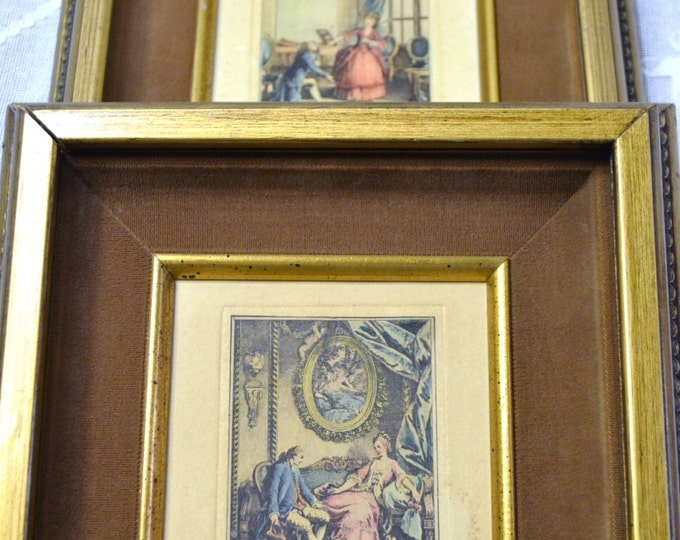 Vintage Lithograph Set of 2 Framed Hand Colored Velvet Matte Colonial Victorian French Country PanchosPorch