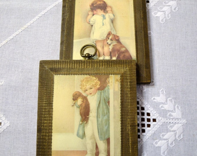 Vintage Children Print Set of 2 Boy Puppy Girl Corner Mounted on Wooden Plaques Nursery Decor PanchosPorch