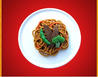 One Serving/Portion of Steak and Vegetables Lo Mein Chinese Food - Handmade Gourmet Doll Food For Your American Girl Doll