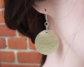 Larger Sterling Silver Disc Earrings