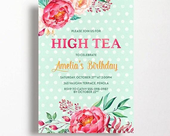 High Tea Invitation Tea Party Bridal Shower Peonies Peony