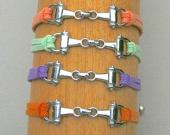 Equestrian Bracelet, Horse Bracelet, Horse Snaffle Bit Bracelet, Faux Suede Leather Cord, Charm Bracelet, Gift For Her