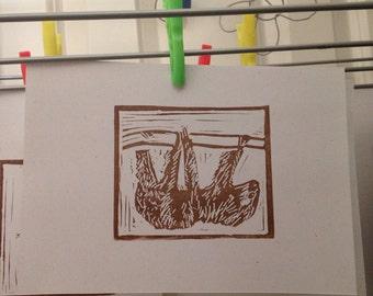 Sloth linoprint