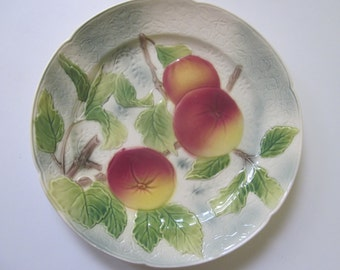 St. Clement Plate with Apples.  Hand Painted, Made in France.