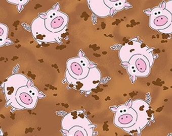 One Yard Green Farms - Pigs in the Mud in Light Brown - Cotton Quilt Fabric - by Kanvas for Benartex Fabrics 5167-70 (W2878)