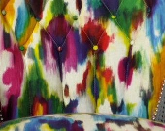 Jewel toned watercolor fabric by the yard