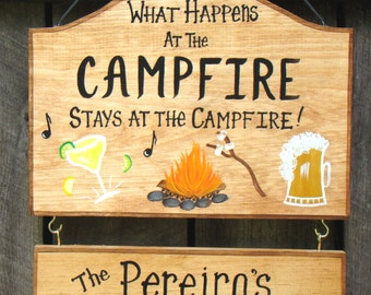 Custom Camping What Happens at Camp Stays at Campfire with Beer Margarita Glass Fire Music RV  Personalized Signs Your Name Great Gift Idea