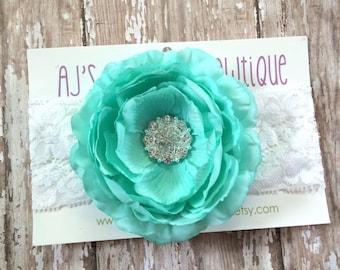 Aqua ranunculus flower headband, baby headband, newborn headband, photo props, headbands