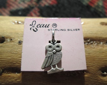 Vintage Beau Owl Sterling Charm with Original Jump Ring
