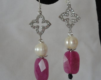 Elegant Amethyst Fresh Water Pearls Earrings*****.