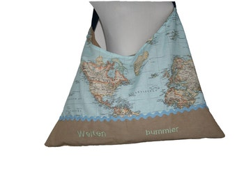 """Large bag / beach bag """"Globetrotter"""" with embroidery of great fabrics"""