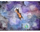5x7 Miniature Pinscher, Min Pin in Space!,  Watercolor Print