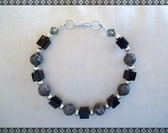 black bracelet, grey bracelet, black and grey, grey and black, silver