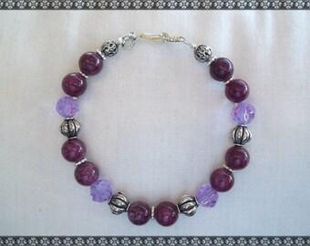 purple bracelet, purple beaded bracelet, purple crystal bracelet