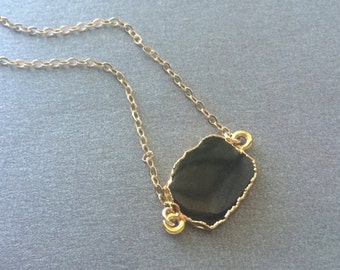 Black Onyx Necklace, Black Onyx Gold Necklace, Gold Edged Black Onyx Necklace