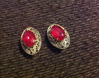 Large vintage clip on earrings gold filigree red stone