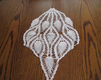 White crochet doily, oblong doily, hand made, shabby chic decor, triagle doily