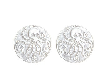 Sterling Silver Octopus Coin Studs