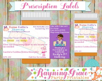 Doc McStuffins/Doctor/Pharmacy Personalized Pretend Prescription Labels (Digital/Printable)